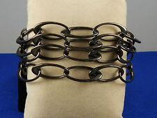 DKNY Hematite-tone Stainless Steel Three Row Oval Link Bracelet $130