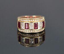 $4,250 EFFY BITA 14k Yellow Gold Princess Diamond Emerald Shape Ruby Ring Band
