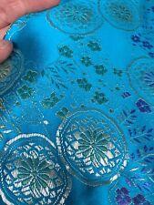 Teal Satin Beautiful Oriental Fabric Remnant 120cm X 100cm