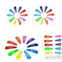 20pc/ Kids Mini 3cm Metal Snap Hair Clip Barette Pin Hairpin Black Fluoro Colour