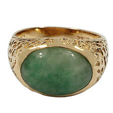 3401-14K YELLOW GOLD JADEITE SOLITAIRE RING 4.53CTS 9.33GR