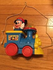 Vintage Blue Disney Mickey Mouse Poppin' Sounds Train Pull Toy