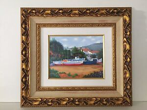 """Alex Perez """"Boats in Cadaques"""" Serigraph on Canvas, Signed & Numbered, Framed"""