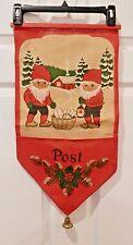 Vintage Christmas 1970's MCM Card Holder Elves Gnomes Burlap Wall hanging