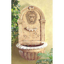 Water Wall Fountain Pump Outdoor Lion Head Faux Carved Stone Patio Garden Art