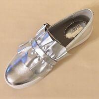 Women MK Michael Kors Bella Slip On Sneaker Metallic Leather  Silver MSRP $120
