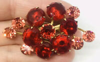 Beautiful Cherry Red Dentelle & Pink Rhinestone Brooch Layered Vintage Jewelry