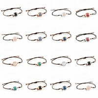 14Colors New Popular Women Rope Woven Natural Stone Agate Bear Bracelet Jewelry