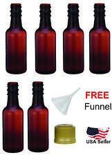 Mini empty plastic alcohol AMBER liquor bottles shots 50ml with caps funnel
