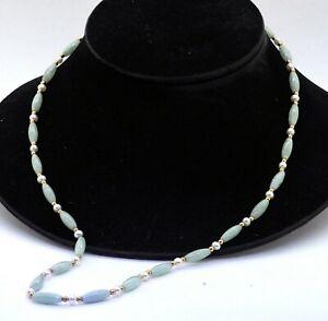 14K yellow gold elegant high fashion pearl and jadeite jade strand necklace