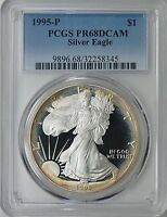 1995 P $1 Silver Eagle PCGS PR68 ( Beautifully Toned ) ASE Proof Coin Bullion
