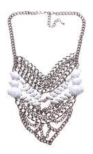 In Trend-White Craze Stone/Layered Gun Metal Bib Chain Statement Necklace(Ns15)