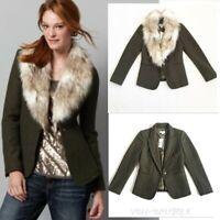 NWT Ann Taylor LOFT Deep Forest Green Wool Jacket Blazer Removable Fur Collar 0P