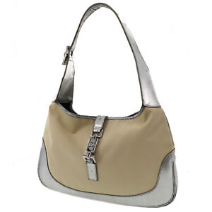 GUCCI Logos Jackie Hand Bag Beige Silver Nylon Canvas Leather Auth #AB451 O