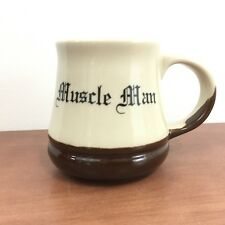 Vtg Muscle Man Coffee Mug Made In USA Stoneware Cup Gym Fitness Body Builder