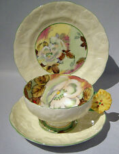 Rare Paragon FLOWER HANDLE Cup Saucer Plate TRIO Set Handpainted Floral