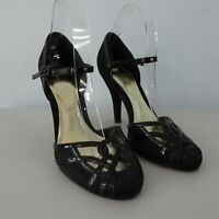 Monsoon Size 38 UK 5 Black Satin High Heel Shoes 40s Party Evening Xmas