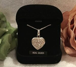 """VINTAGE STERLING SILVER and CUBIC ZIRCONIA-HEART PENDANT-ON A 46cm (18"""") CHAIN"""
