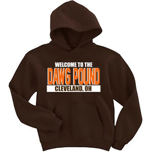 """Cleveland Browns """"Welcome to the Dawg Pound"""" jersey Hooded SWEATSHIRT HOODIE"""