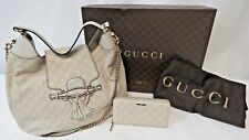 GUCCI Guccissima Emily Hobo Off White Leather Purse 322226 & Wallet 3595C 6969