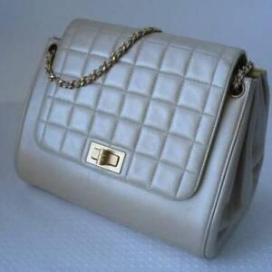 Auth CHANEL Pearly Beige Lamb skin Chocolate Bar Reissue  Flap Handbag GHW Rare
