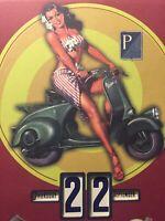 Vespa Pin Up Continual Perpetual Calendar Sign Made in Italy Piaggio