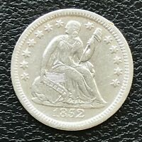 1852 Seated Liberty Half Dime 5c High Grade AU - UNC #13804