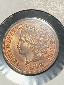 SHARP 1898 INDIAN HEAD CENT IN CHOICE TO GEM BRILLIANT UNCIRCULATED