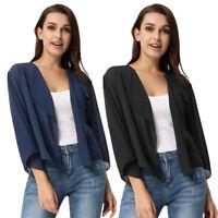 Women Chiffon Kimono Blouse Coat Boho Cardigan Jacket Beach Cover Up Top New