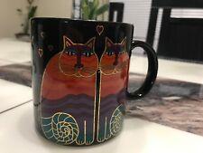 Laurel Burch Rainbow Cat Black Large Ceramic Coffee Mug Tea Cup, 12oz😽