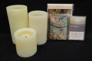 Lot of 3 Meditation Solitude Items Relaxation Candles Music Note Cards Journal