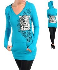K58 MEDIUM Blue,Cotton,Leopard Print,Rhinestones,Stretch,Kangaroo Pockets Hoodie