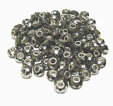 European Beads Charms Metallic Silver Roundelle Large Hole 15 x 10 mm 10 pc