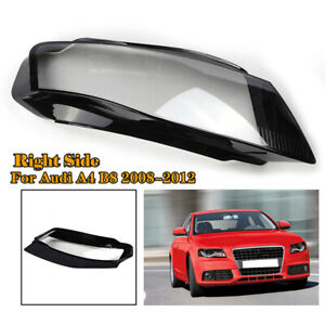 Right Driver Side Front Headlight Headlamp Cover Lens  For Audi A4 2009-2012 B8