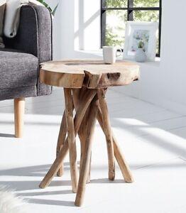 Exklusiver Massiv Teak Beistelltisch Root Holz Wurzelholz 45 cm Couchtisch natur