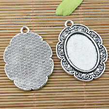 3pcs tibetan silver oval shaped rim cabochon setting EF2488