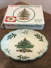 "Spode Christmas Tree  Dish 5.5"" In Box EUC Oval Fluted Small"