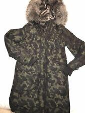 river island Mens Faux Fur Lined Camo Hooded Zip Popper Fastening Parka coat XXS