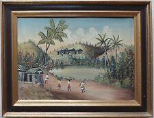 ART NAÏF MADAGASCAR anonyme Huile Sur Toile peinture Malgache orientalisme RABE?