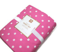 Pottery Barn Teen Pink Dottie Polka Dot Cotton Queen Sheet Set New