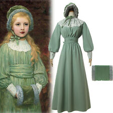 Women Girl Colonial Long Dress Prairie Pioneer Day Civil War Lace VintageCostume