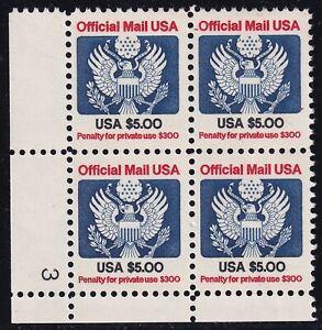 US STAMP BOB #O133 – 1983 $5 official stamp  MNH/OG BLK OF 4 PL# $45