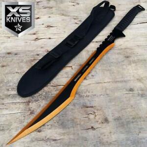 "27"" Titanium GOLD / BLACK Full Tang VIPER Machete Ninja Sword Katana w/ SHEATH"