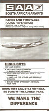 South African Airways international timetable 8/1/84 [9071]