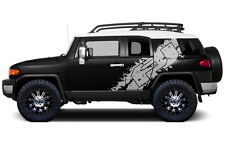 Custom Vinyl Graphics Decal Wrap for 07-14 Toyota FJ Cruiser Side Graphic SILVER