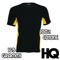 Tshirt T-shirt Maglietta Maglia Bicolore Maniche Corte 100% Cotone nera gialla