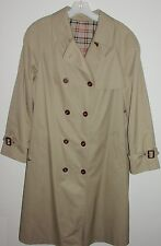 Classic Men's Beige Double-Breasted Trench Rain Coat Size 44 Diolen Germany Mint