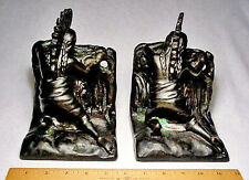 Nice circa 1911 Indian Lookout Hollow Bronze Rare Antique Bookends