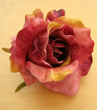 "3"" Merlot Rose Poly Silk Flower Hair Clip, Wedding, Prom, Dance, Party,Bridal"