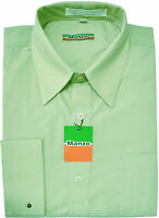 New Men's French Cuff dress shirt long sleeve work formal wedding Mint Green